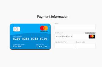 Адаптивная HTML форма оплаты кредитной картой (JS)