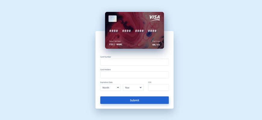 Интерактивная форма ввода данных кредитной карты